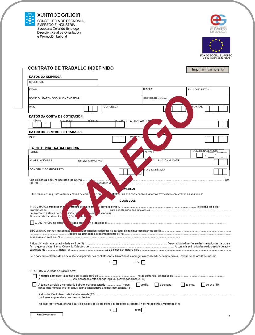 Modelos de contratos speg for Modelo contrato indefinido