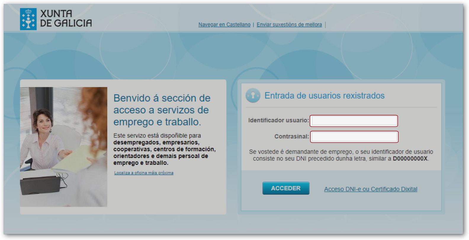 oficina virtual acceso con usuario speg